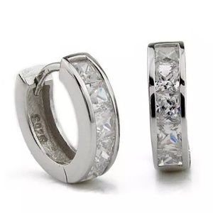 925 Sterling Huggie Channel Set Crystal Hoops